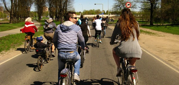 Riding bicycles in Riga